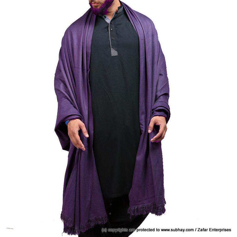 Mix Woolen Purple (Jamuni) Plain Kashmiri Shawl For Him SHL-066-6