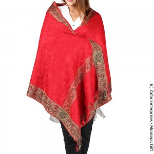 Red 4 Border Kashmiri Acro wool Stole / Muffler For Women MFL-147-4