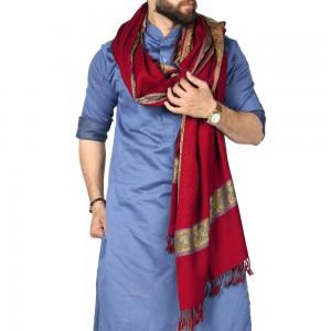 Red 4 Border Karbala Style Chadder Shawl SHL-182-4