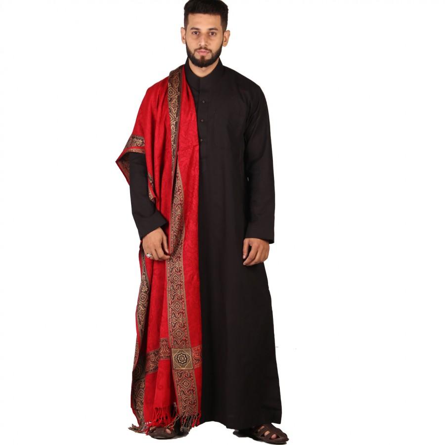 Red 4 Border Karbala Style Mufler Shawl SHL-192-4