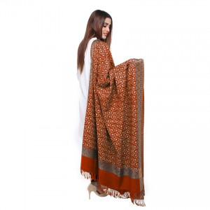 Red Full Embriored Kashmiri 4 Border Shawl For Her SHL-147-15