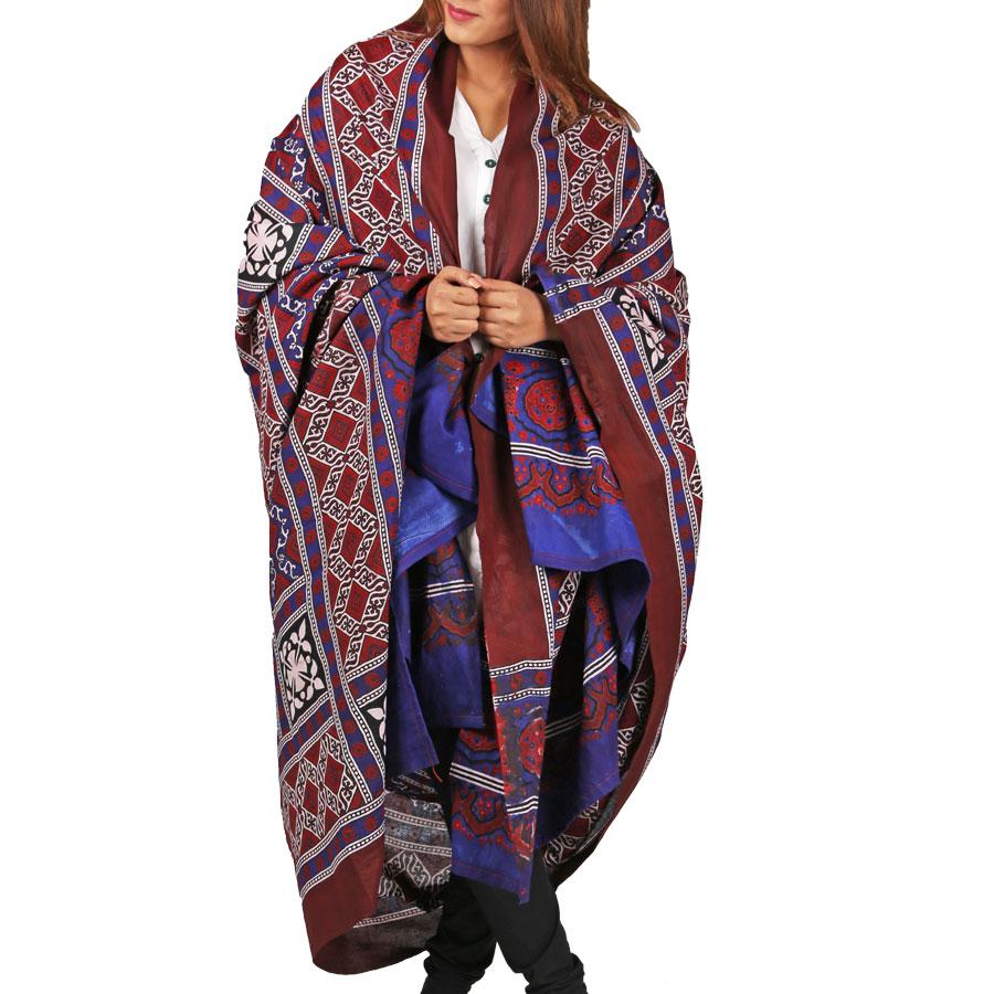Pure Cotton Sindhi 2 pc Ajrak (Targarho Print) For Her SA-01-4