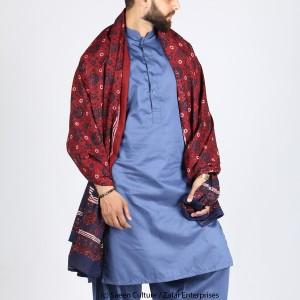 Pure Cotton Plain Chakki Block Printed Ajrak [Herbal Dyes] SA-39-2