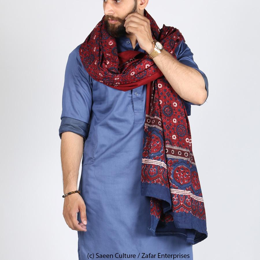Pure Cotton Chakki Gulab Block Printed Ajrak [Herbal Dyes] SA-39-1