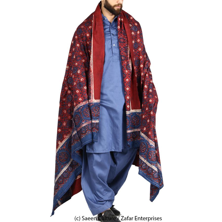 Pure Cotton Plain Chakki Block Printed Ajrak [Herbal Dyes] SA-40