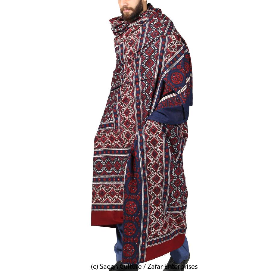 Pure Cotton Tar Hasha Block Printed Ajrak [Herbal Dyes] SA-38-2