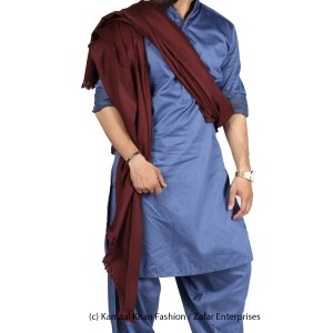Mix Woolen Maroon (Sukh) Plain Kashmiri Lohi Shawl For Him SHL-066-7