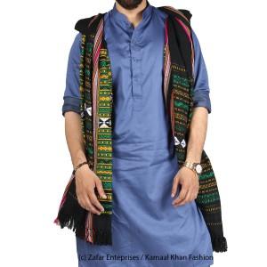 Green & Yellow Sindhi Tharri / Khatri  / Wadera Shawl SHL-112-13