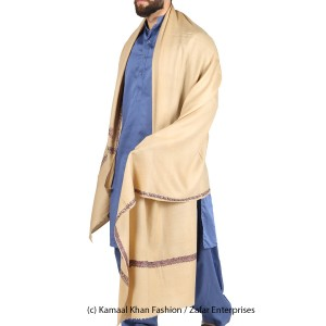 Light Brown Kashmiri Kingri Work (Handmade) Shawl For Him SHL-175-4