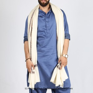 White Kashmiri Kingri Work (Handmade) Shawl For Him SHL-175-5