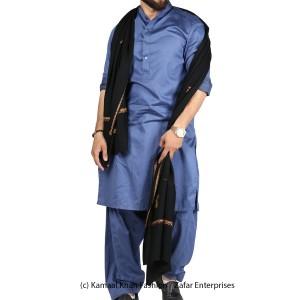 Black Kashmiri Kingri Work (Handmade) Shawl For Him SHL-175-1