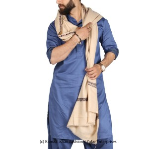 Tea Pink Kashmiri Kingri Work (Handmade) Shawl For Him SHL-175-3