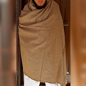 Light Brown Pure Bannu Pashmina Handmade Shawl For Him SHL-245-1