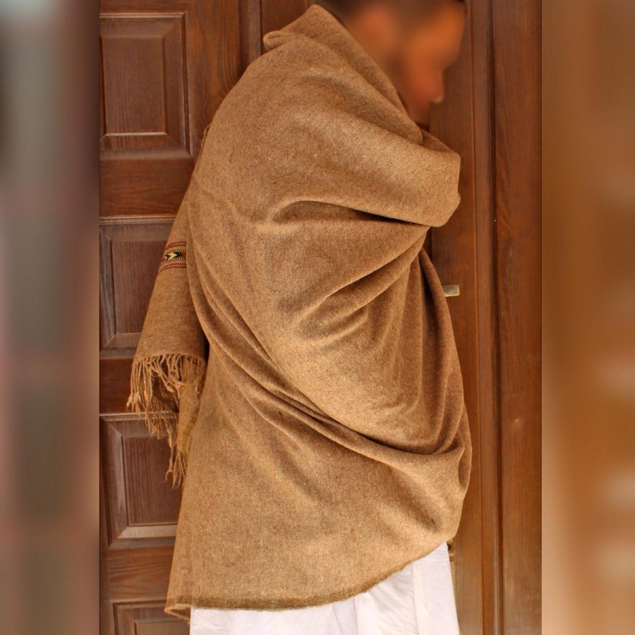 Light Brown Pure Bannu Pashmina Handmade Shawl For Him SHL-245-1