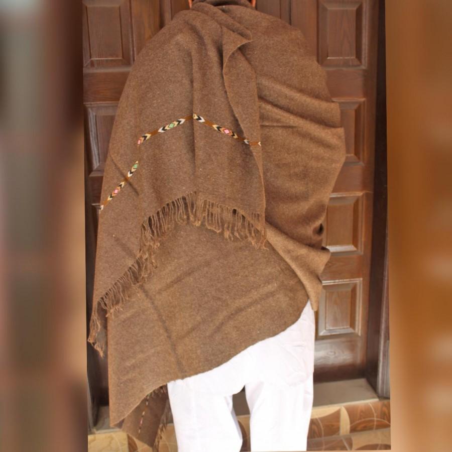 Dark Pure Bannu Pashmina Handmade Shawl For Him SHL-245-2