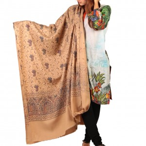 Tea Full Kashmiri Block Print & Handwork Jaal Shawl For Women SHL-211-5