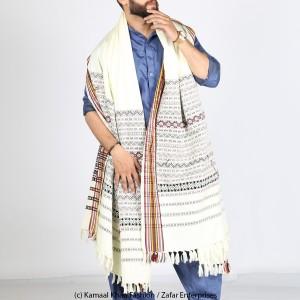 White Handmade Sindhi Tharri / Khatri  / Wadera Shawl SHL-112-11