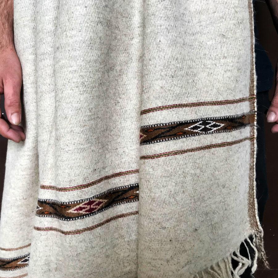 White Pure Bannu Pashmina Handmade Sawati Dhussa Shawl For Man SHL-245-3