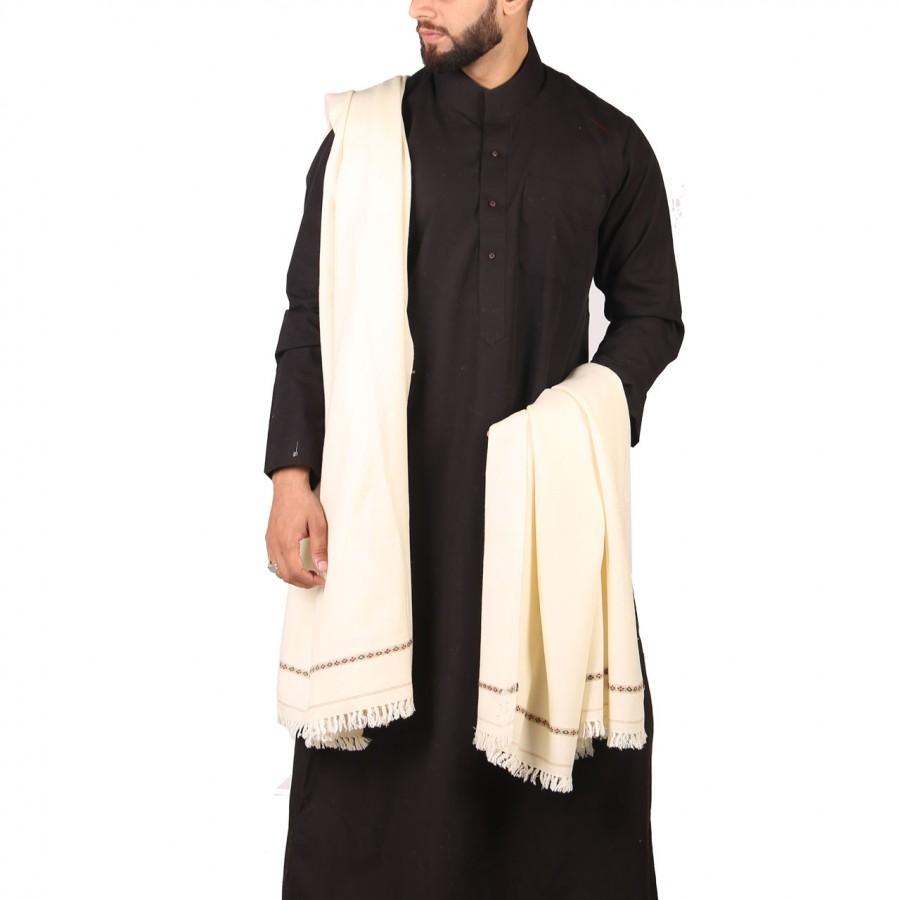 White Pure Woolen Kashmiri Shawl SHL-181-8