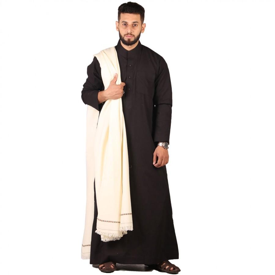 White Pure Woolen Kashmiri Dhussa SHL-119-3