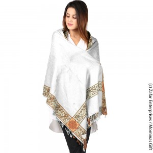 White 4 Border Kashmiri Acro wool Stole / Muffler For Women MFL-147-2