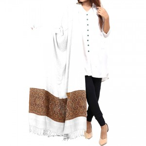 White Jacquard Kani Palla Shawl For Her SHL-166-8