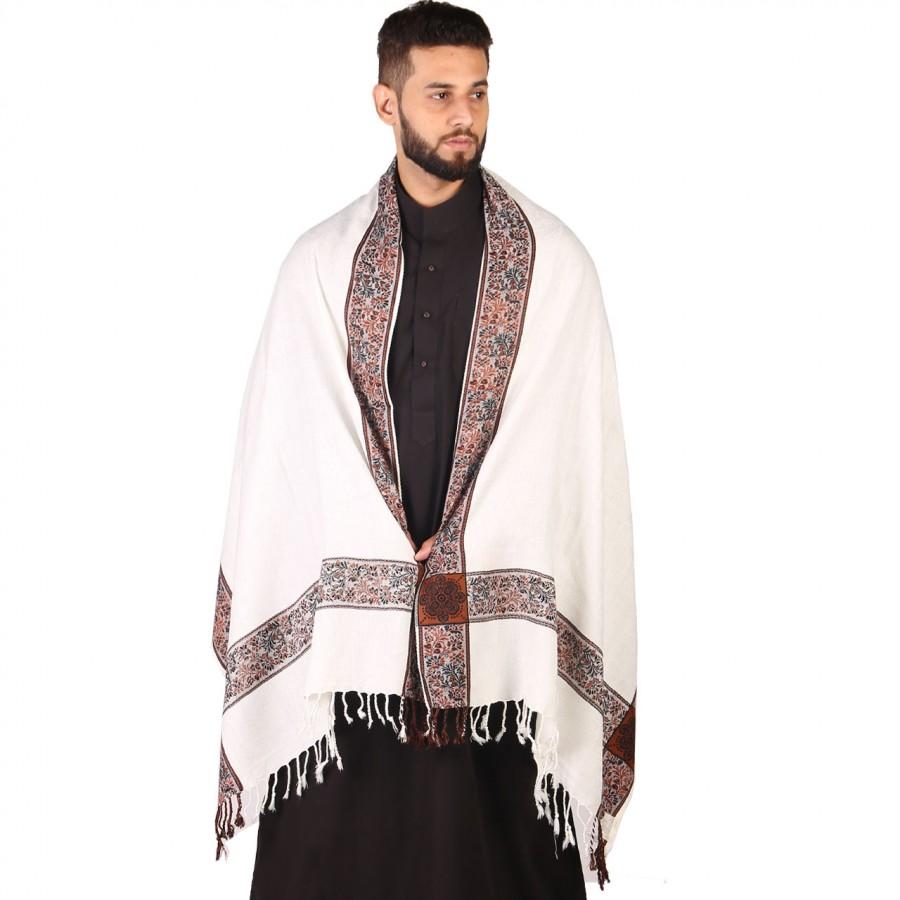 White 4 Border Karbala Style Mufler Shawl SHL-192-2