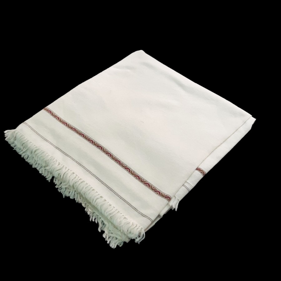 White Color Pure Woolen Light Weight Pashmina Dhussa Shawl For Him SHL-171-2