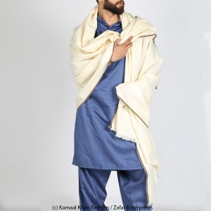 Off White Pure Woolen Handmade Kashmiri Lohi Shawl SHL-131