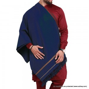 Navy Blue Pure Acro-Woolen Dhussa Shawl For Man SHL-030-16