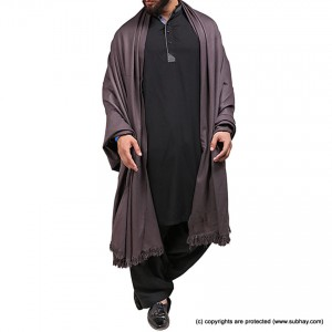 Mix Woolen Dark Grey Plain Kashmiri Shawl For Him SHL-066-5