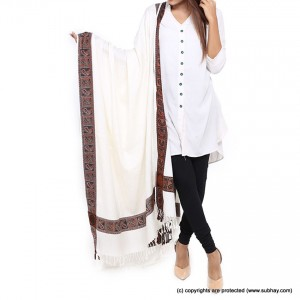 Acro Woolen White Color Kashmiri 4 Border Shawl For Her SHL-147-8