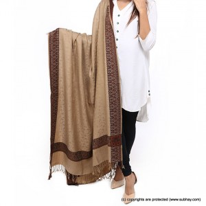 Acro Woolen Khaki Color Kashmiri 4 Border Shawl For Her SHL-147-9