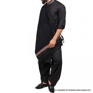 Pure Velvet Black Dhussa / Khamdar Shawl SHL-150-6 By Khan Culture