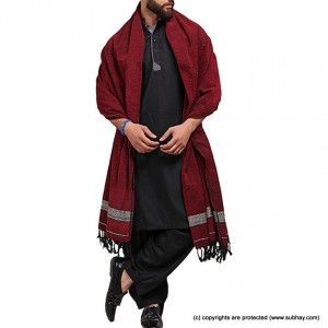 Pure Velvet Maroon Dhussa / Khamdar Shawl SHL-150-7 By Khan Culture