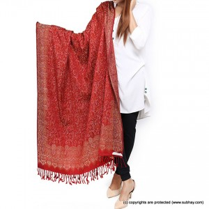 Acrowoolen  Red Self Embriored (Sharing) Shawl For Her SHL-157-2