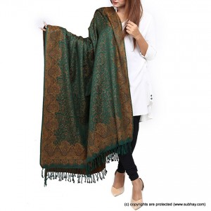 Acrowoolen Deep Green Self Embriored (Sharing) Shawl For Her SHL-157-4