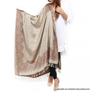 Acrowoolen Khaki Self Embriored (Sharing) Shawl For Her SHL-157-6