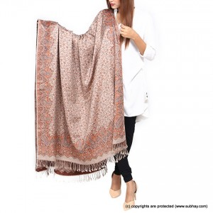 Acrowoolen Biege Self Embriored (Sharing) Shawl For Her SHL-157-5