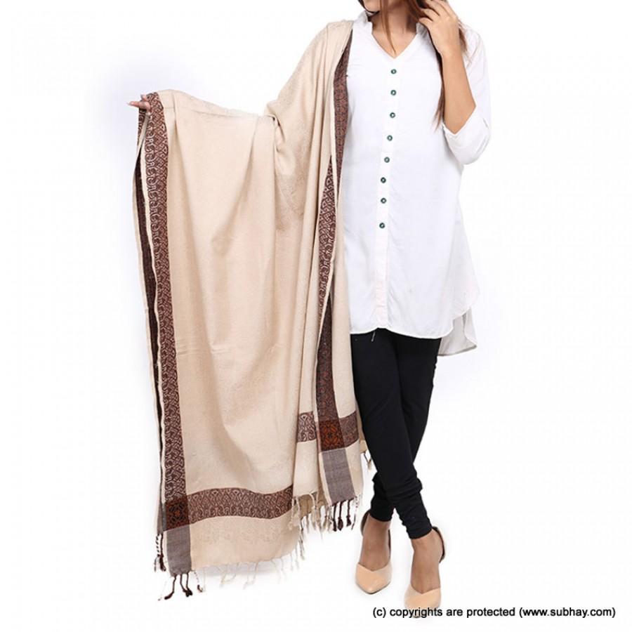 Acro Woolen Skin Color Kashmiri 4 Border Shawl For Her SHL-147-10