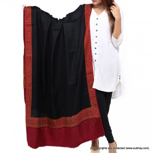 Plain Jacquard 4 Side Border Black Shawl For Her Shl-165-1