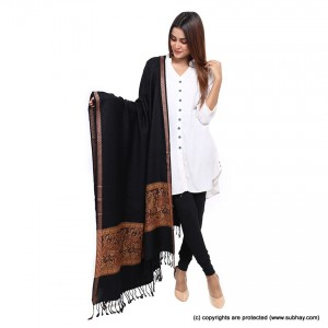 Black Plain Jacquard Kani Palla Shawl For Her SHL-166-1