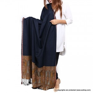 Navy Blue Jacquard Kani Palla Shawl For Her SHL-166-4