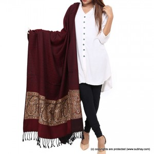 Maroon Jacquard Kani Palla Shawl For Her SHL-166-5