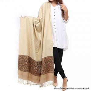 Beige Jacquard Kani Palla Shawl For Her SHL-166-7
