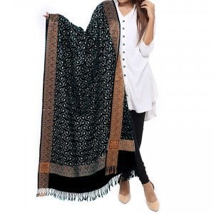 Black Full Embriored Kashmiri 4 Border Shawl For Her SHL-147-12