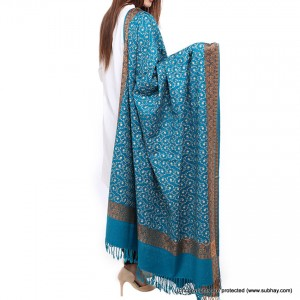 Sea Green Full Embriored Kashmiri 4 Border Shawl For Her SHL-147-11
