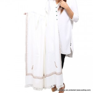 White 4 Side Embriored Kashmiri Shawl SHL-167-1
