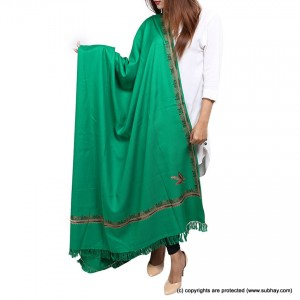 Green 4 Side Embriored Kashmiri Shawl SHL-167-2