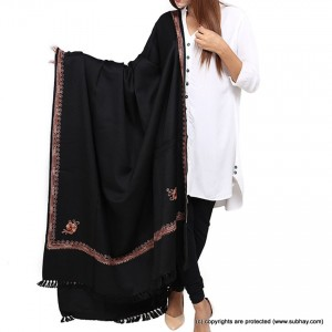 Black 4 Side Embroidered Kashmiri Shawl SHL-167-3
